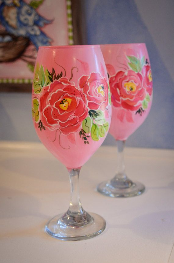 1427 best flower bottles and glasses images on pinterest for Type of paint to use on wine glasses