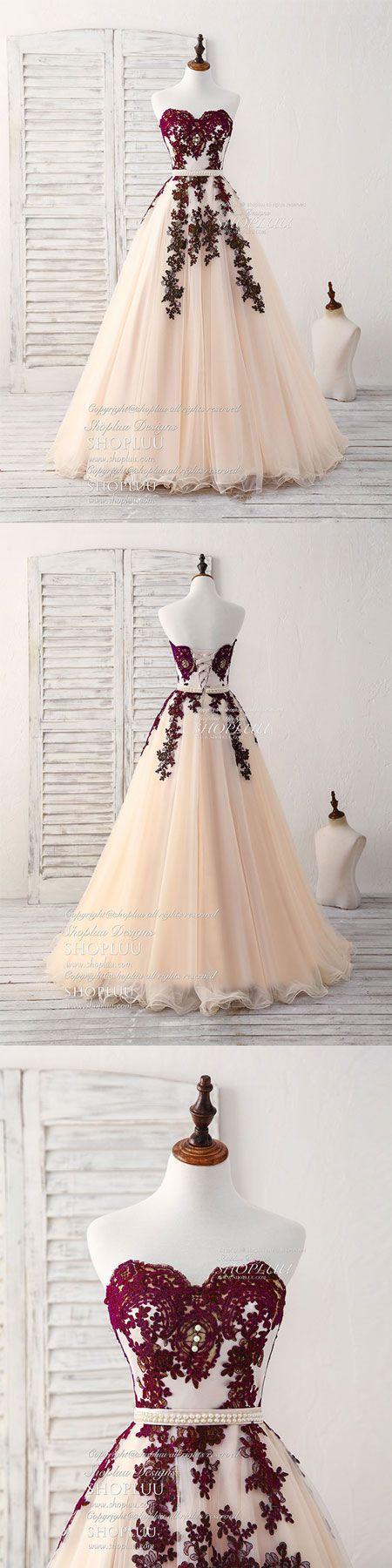Burgundy sweetheart tulle long prom dress, burgundy evening dress