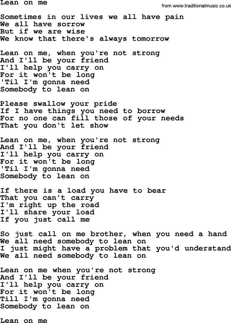 Lyric lean on me with lyrics : on me fitness