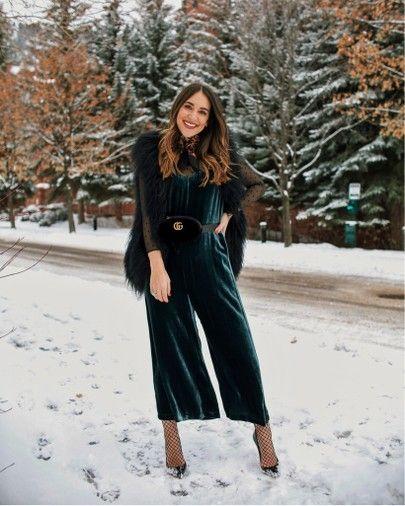 78af96347c51 Feeling SO extra in this velvet jumpsuit and black Gucci belt in Aspen  kathleen barnes