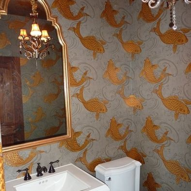 O Koi wallpaper,, powder room