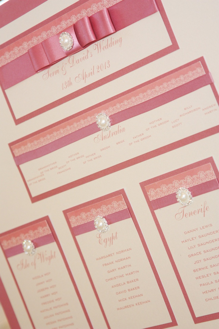Dusky Pink & Ivory Table Plan from our 'Purlesque' range of Wedding Stationery & Accessories.