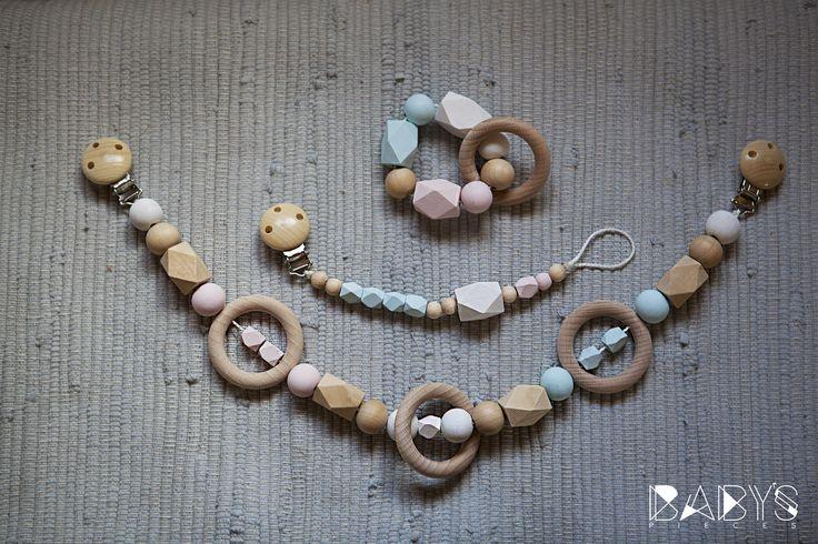 Pacifier Clip, Teething ring and Stroller Chain Set // Set Schnuller- Kinderwagenkette und Greifring