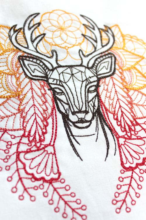 beautiful deer embroidery... Tat to cover the little kanji on my back?