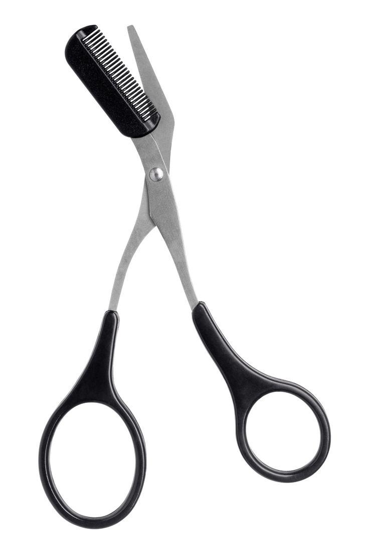 Schwarz. Eine abgewinkelte Schere mit abnehmbarem Kämmchen zum einfachen Trimmen der Augenbrauen. Mit dem zusätzlichen Kammaufsatz kann man die Augenbrauen
