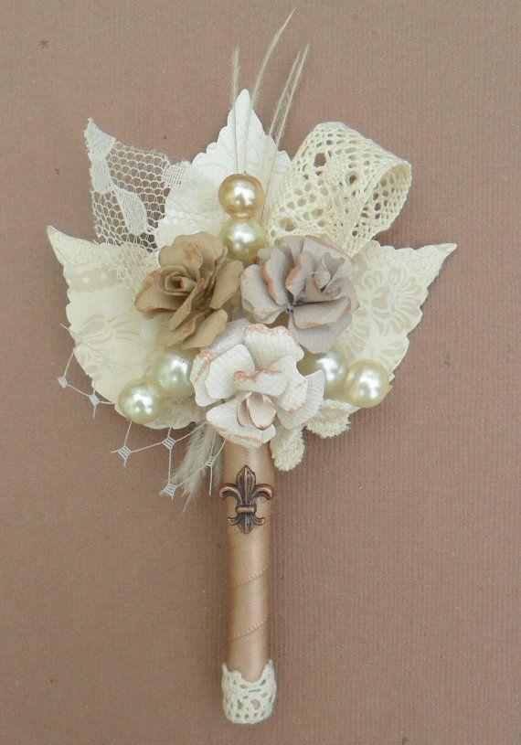 Vintage /Antique inspired boutonniere. $14.50 WOW! Without the fleur de lis please!