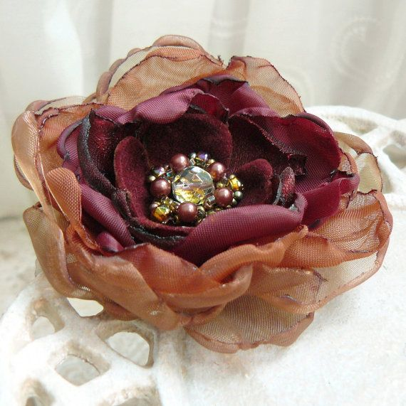 Harvest - Layered Flower Brooch, Pin, Accessory or Hair Clip in Burgundy and Copper