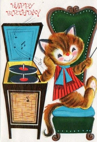 Happy Birthday - Cat Listening to Records                              …