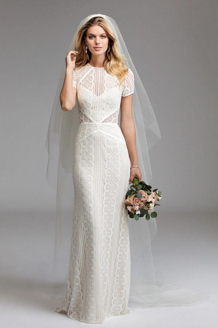 Brautkleid Spitze Hochzeitskleid In A Linie Mit Kurzen Armeln Frisur Mit Wasserwellen Kleid Hochzeit Hochzeitskleid Spitze Kurzes Hochzeitskleid