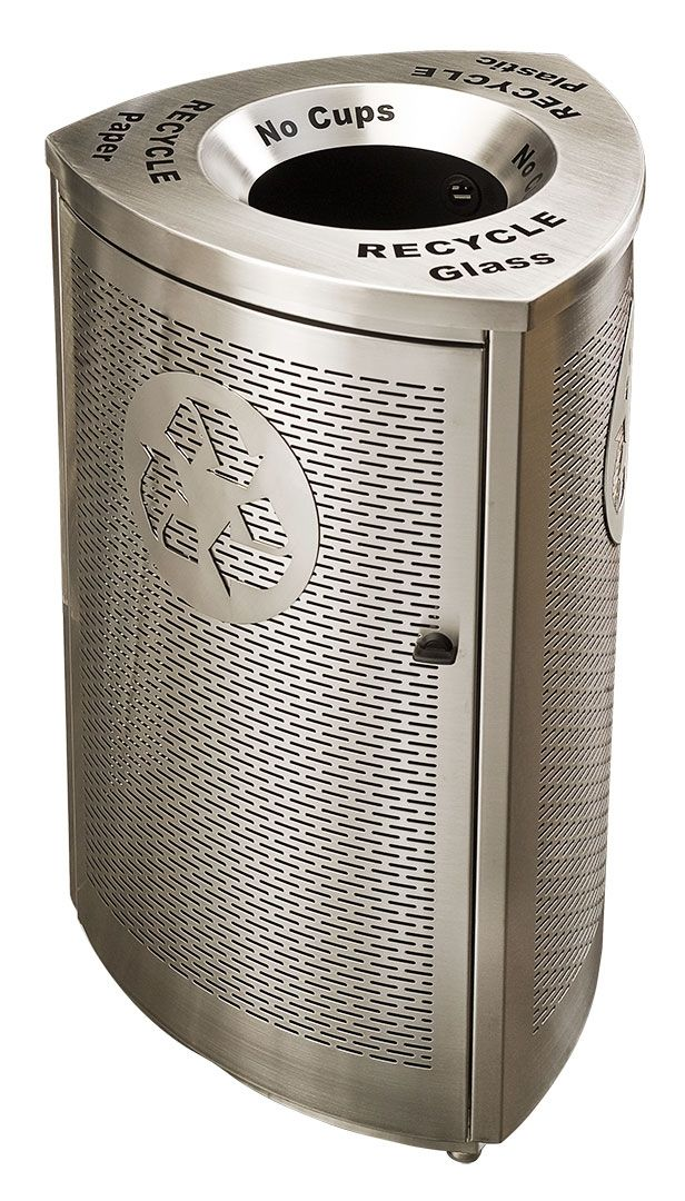 Mod Single Stream - stylish laser-cut stainless steel recycling bin. Also customizable with a high quality laminate finish