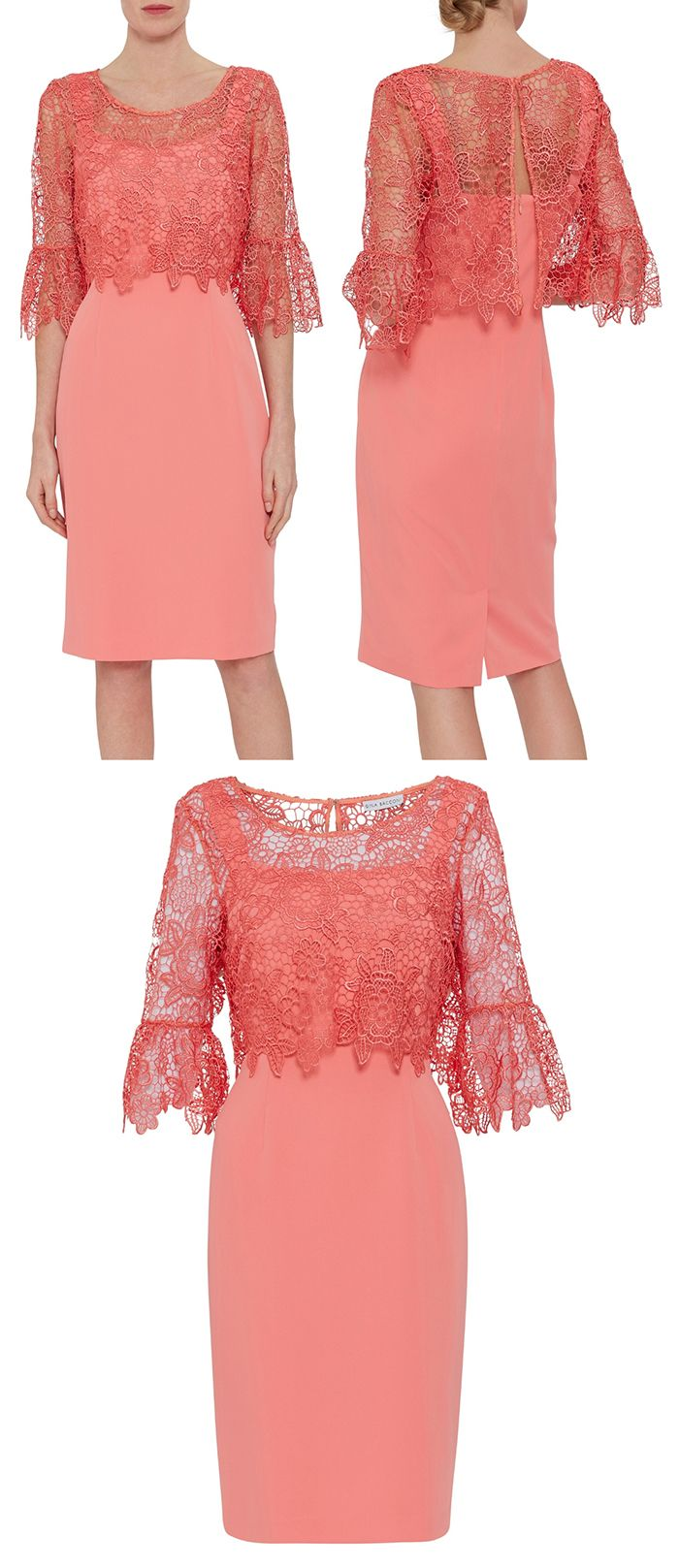 Living Coral Lace Overlay Dress For Spring Mother Of The Bride Spring Weddi Wedding Guest Outfit Formal Spring Wedding Guest Dress Wedding Guest Outfit Summer [ 1617 x 700 Pixel ]