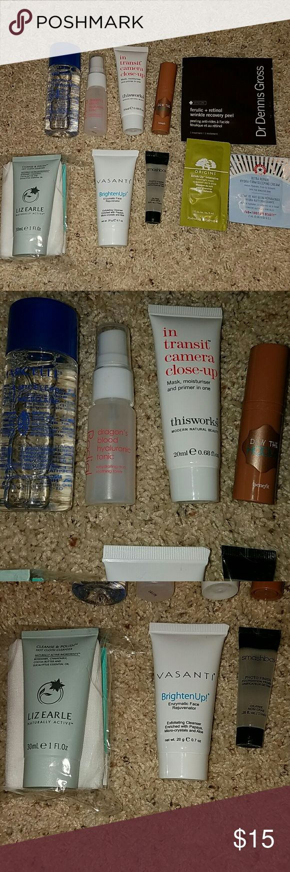 Sample Face Product Lot Brand New lot of face products. Try these samples to find your perfect fit before you buy full size! Never used!!!  - Marcelle 3 in 1 Micellar Solution 1.7 fl oz - Liz Earle Cleanse & Polish Hot Clith Cleanser 1 fl oz - Vasanti Brighten Up Face Rejuvenator .7 oz - This Works In Transit Camera Close Up .68 fl oz - Benefit Dew The Hoola Liquid Face Bronzer .16 fl oz - Smashbox Photo Finish Primer .25 fl oz - Rodial Dragon Blood Hyaluronic Tonic .05 fl oz - 3 foil packet…