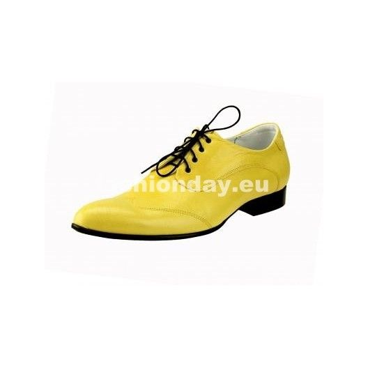 Pánske kožené extravagantné topánky žlté - fashionday.eu