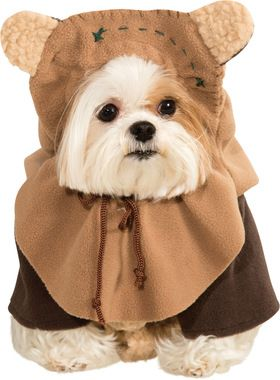 A cuddly little Ewok costume for your favorite furry buddy! Comes with jacket and helmet! Small size fits small dogs 11 inches from neck to tail with a chest measurement of 14 inches.