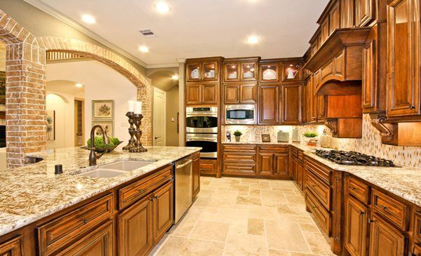 Plenty of cabinet space in this kitchen from Village Builders in Texas