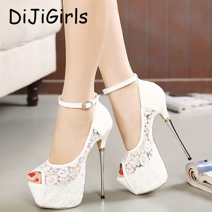 Женские летние сандалии кружева насосы женщины партия обуви насосы платформы белый свадебные туфли на шпильках открытым носком ботинки платья D114