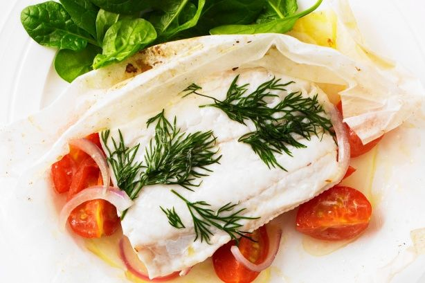 Take a break from meat with this delicious fish dish with plenty of fresh veggies.
