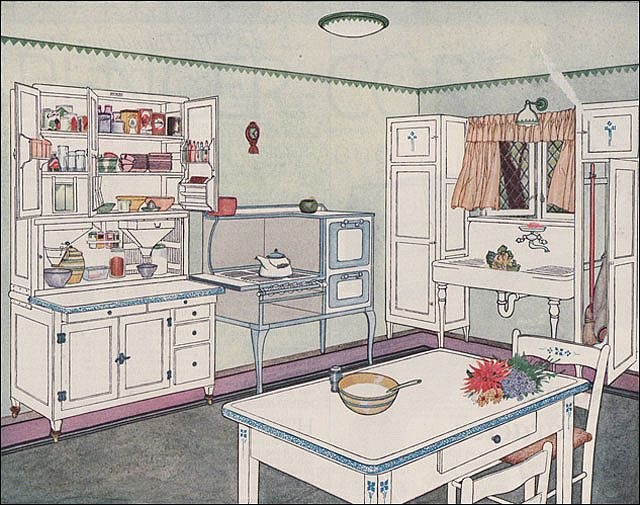 1924 - How to Equip the Modern Kitchen    This article/advertisment was published in the March 1924 Ladies Home Journal and the image featured was the latest Hoosier kitchen. I like the diamond-paned casement windows.