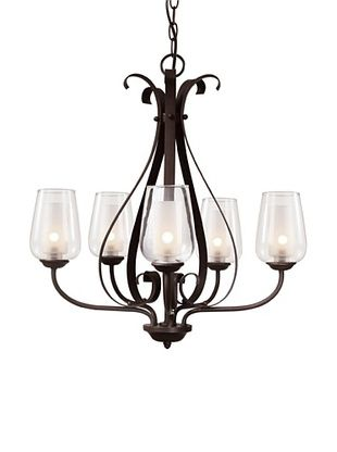 Trans Globe Lighting Eclectic Tempo 5-Light Chandelier, Rubbed Oil Bronze