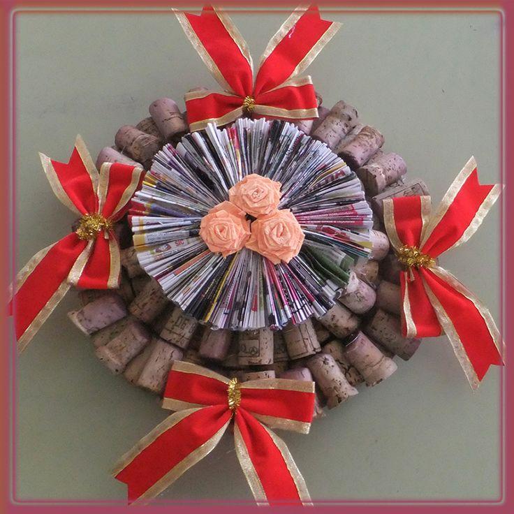 Coroa de Natal com rolhas de cortiça
