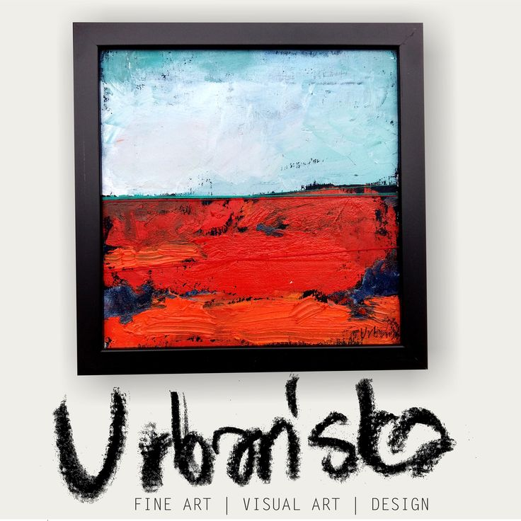 abstract landscape oil painting + artistic textile!Series 25x25cm 11/25 /Obraz olejny abstrakcyjny pejzaż + tkanina artystyczna! Cykl 15/25 by KarolinaBUrbanska on Etsy