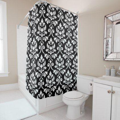 Feuille Damask Big Pattern White On Black Shower Curtain