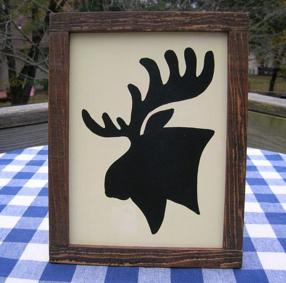 Moose Silhouette Wood Sign with Rustic Frame by ...