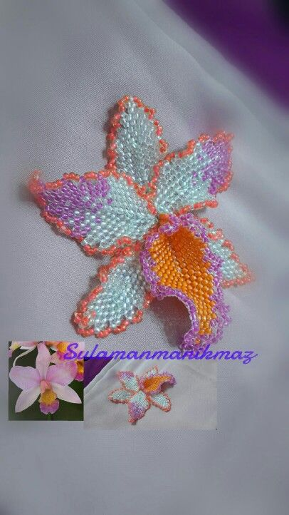 This is my first beaded orchid flower...