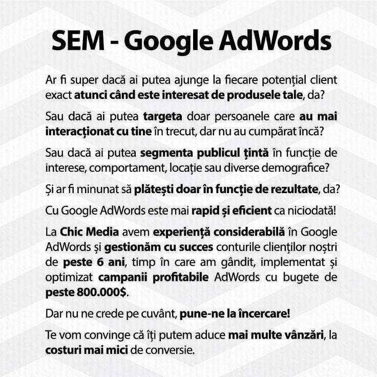 La Chic Media avem experiență considerabilă în Google AdWords și gestionăm cu succes conturile clienților noștri de peste 6 ani, timp în care am gândit, implementat și optimizat campanii profitabile AdWords cu bugete de peste 800.000$.  Dar nu ne crede pe cuvânt, pune-ne la încercare!  Te vom convinge că îți putem aduce mai multe vânzări, la costuri mai mici de conversie.  http://ChicMediaGroup.ro/  #sem #adwords #googleadwords #searchmarketing #marketing #ppc #remarketing #retargeting