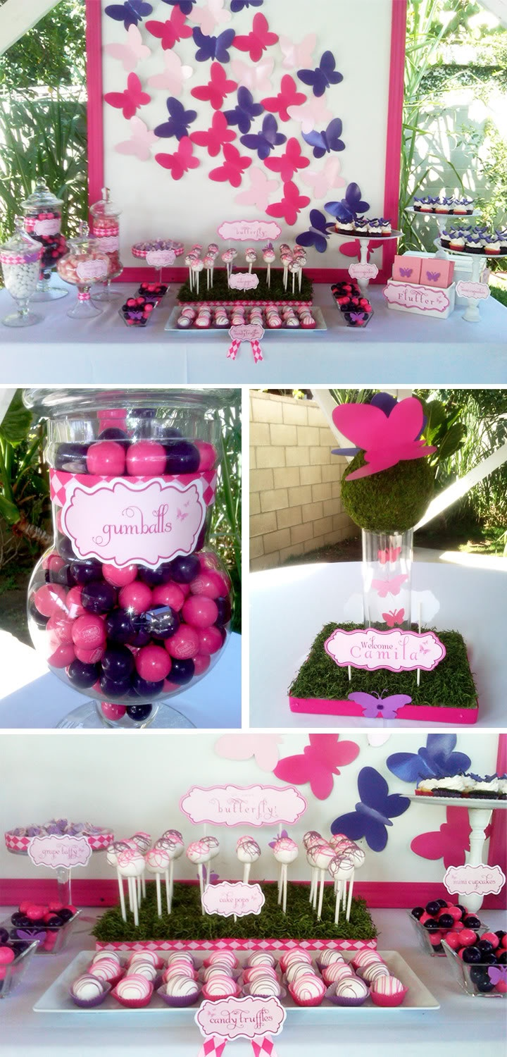 Pink and Purple Butterfly Dessert Table