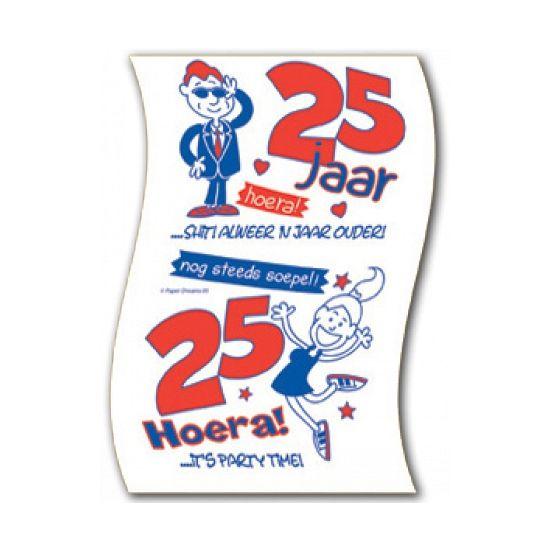 Toiletpapier 25 jaar. Toiletrol voor een 25 jarige verjaardag met leuke, grappige teksten.