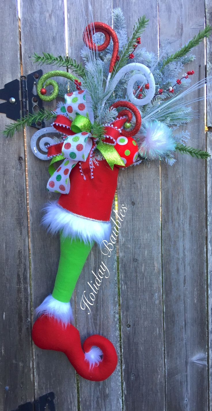 Diy grinch christmas decorations - Grinch Stocking Door Hanger By Holiday Baubles Whoville Christmaschristmas Wreathschristmas Stuffdiy