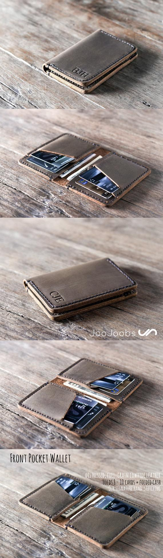 Minimalist Leather Wallet.  All JooJoobs wallets are handmade and hand-stitched. Come visit our Etsy shop and find the perfect wallet for your favorite someone.