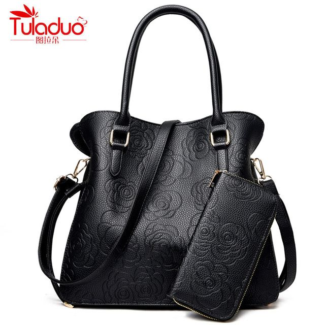 For Sale $22.61, Buy New Fashion Leather Women's Handbags With Purse Famous Brand TuLaDuo Ladies Shoulder Bags High Quality Print Rose Composite Bag