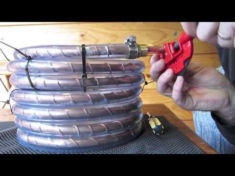 How to build a counterflow wort chiller for cooling homebrew beer from boiling to pitching temperature in 10 minutes.