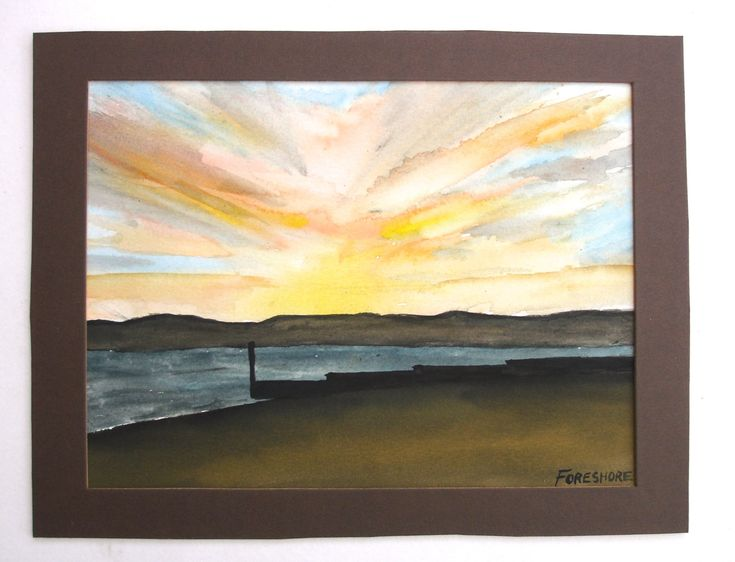 1993 Foreshore Sunset over Poole Harbour and Purbeck Hills Vintage Watercolor of England Vintage Seascape Landscape Seaside Resort Painting by FillyGumbo on Etsy