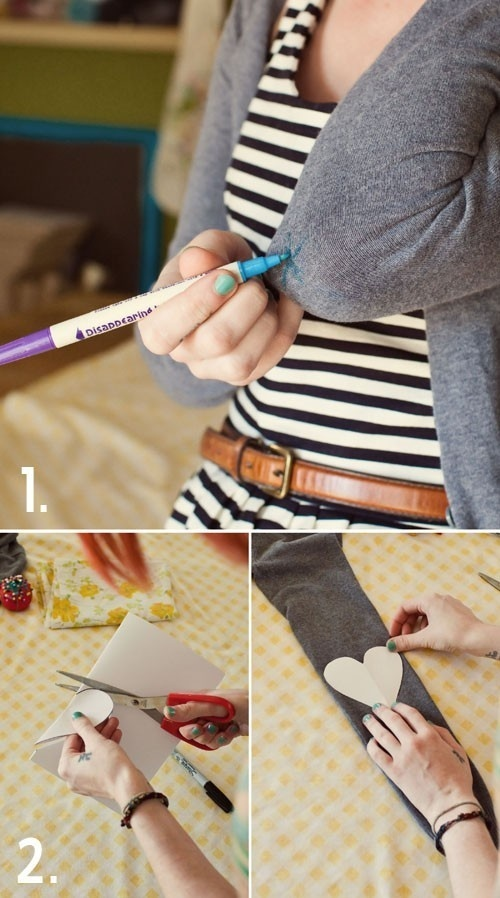 Wear Your Heart On Your Sleeve DIY Tip: Mark elbow.