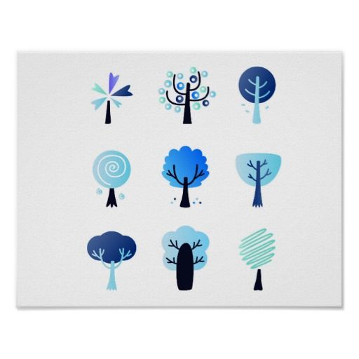 Paper poster with Winter trees / BLUE