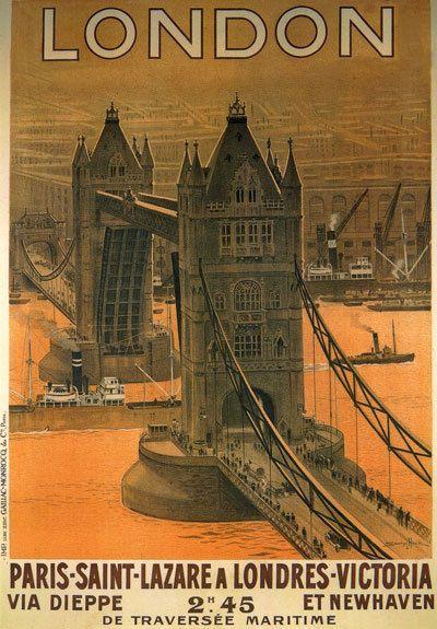 TS69 Vintage London Paris French Railway Poster Print