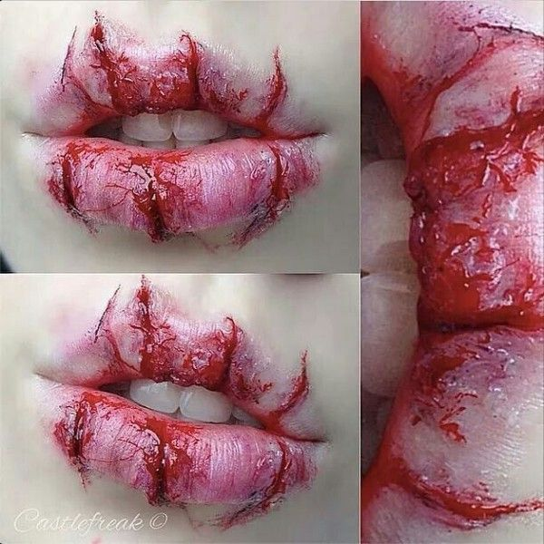Amazing cracked lips | zombi makeup | Pinterest ❤ liked on Polyvore featuring beauty products, makeup, lip makeup, lip cosmetics and lips makeup