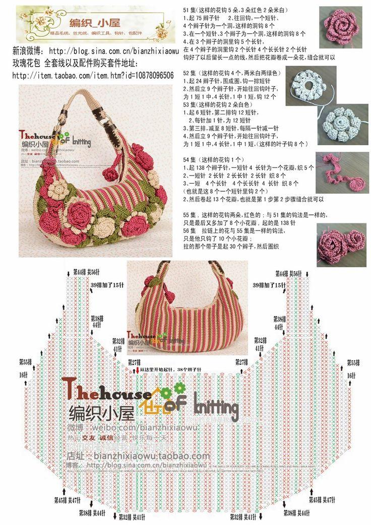 Katia Ribeiro Moda & Decoração Handmade: Bolsa em crochê passo a passo com gráfico e vídeos ( pap das flores )