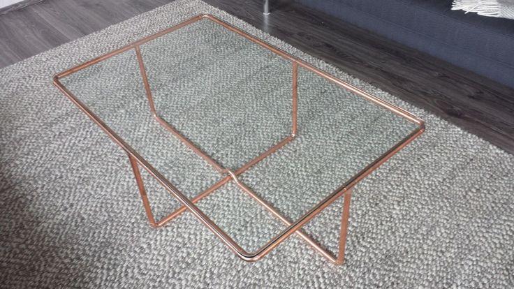 DESIGN Couchtisch aus KUPFER und GLAS  K01  depicclick