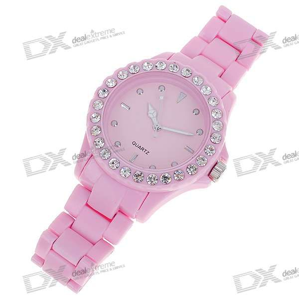 Crystal Fashion Wrist Watch - Pink (1*377) - Free Shipping - DealExtreme