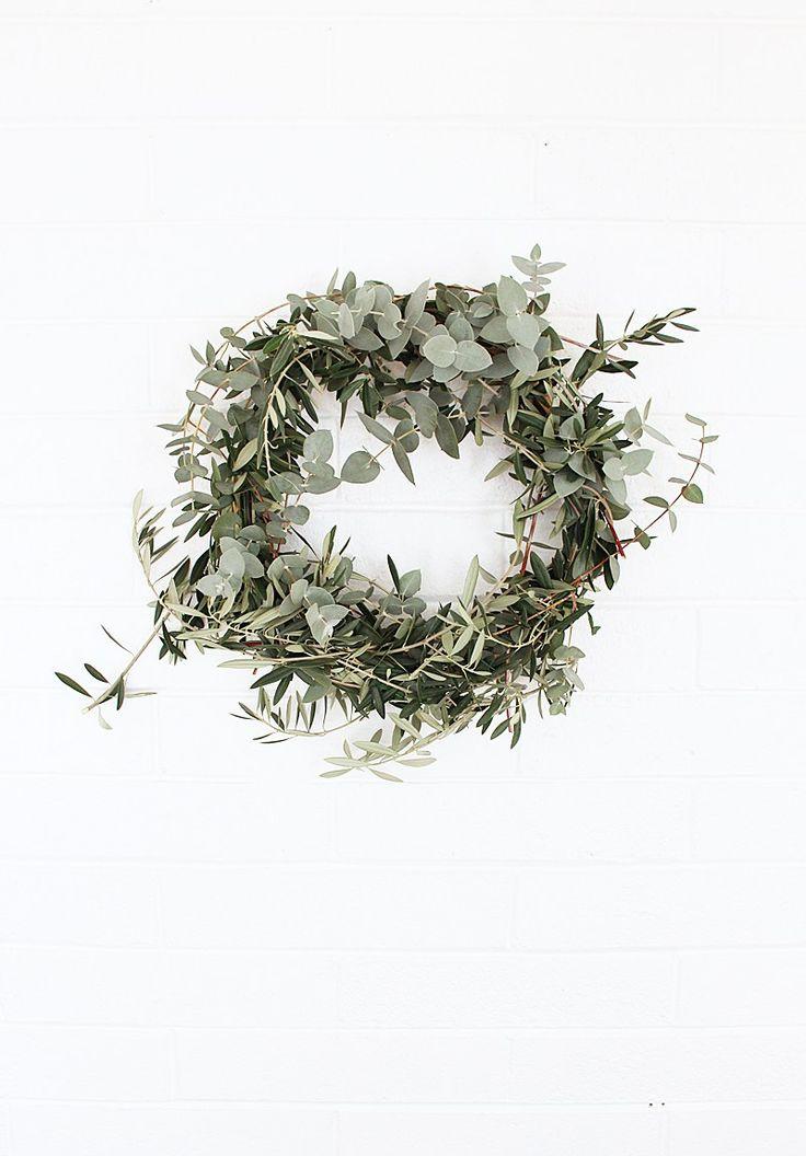 DIY Eucalyptus Olive & Floral Wreath   love the simplicity #christmas #wreath #eucalyptus