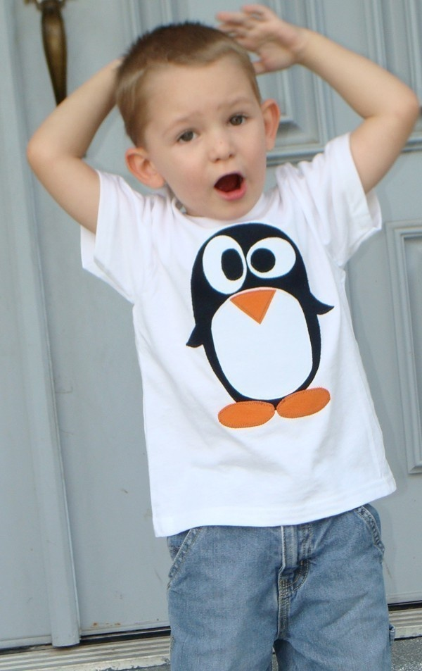 Penguin Custom Applique Tshirt.