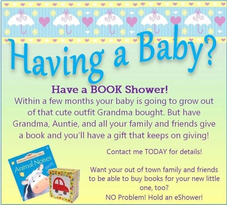 Having a Usborne & More baby shower is a great way to build a new baby's book collection. Parents can set up a wish list at www.f4836.myubam and friends and family can order books ahead of time or at the party. An interactive Facebook book party is always an option as well.