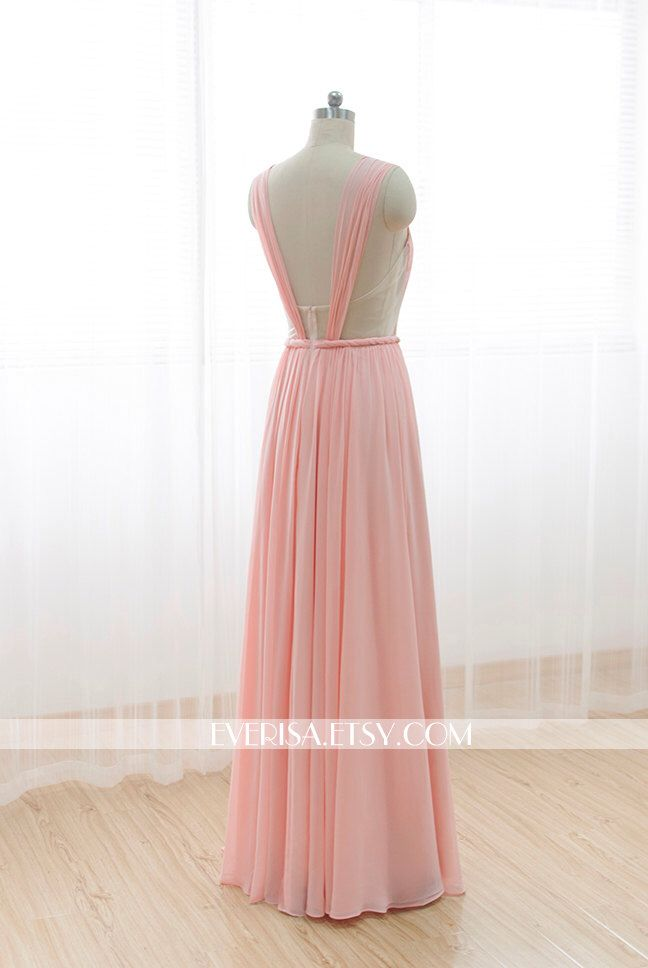 Blush Pink Chiffon Bridesmaid dress Long Prom Dress See Through Backless Dress by Everisa on Etsy https://www.etsy.com/listing/210641680/blush-pink-chiffon-bridesmaid-dress-long