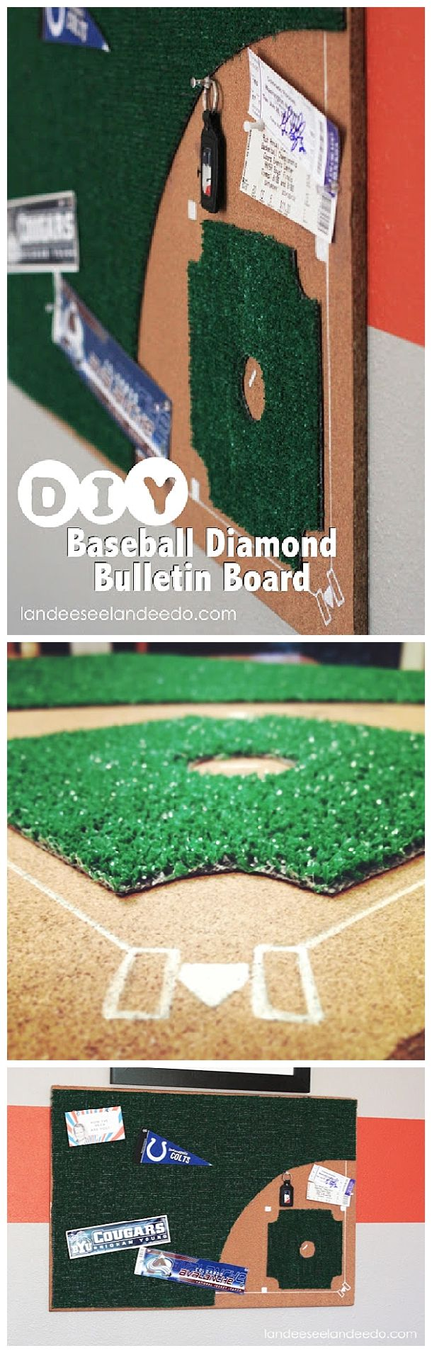 DIY Baseball Diamond Bulletin Board - Perfect for the sports fan teen boy bedroom decor or Dad's office!  EASY do it yourself project step by step tutorial via landeelu.com