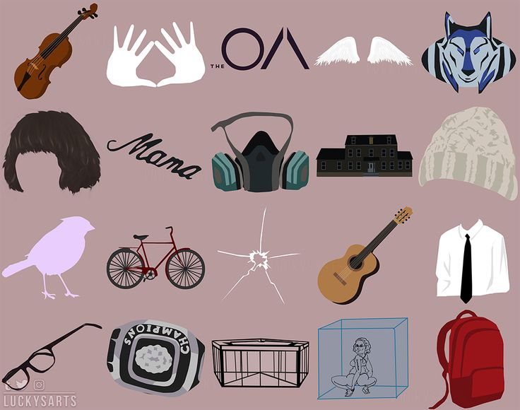 Minimalist symbols representing the characters, places and events of The OA.