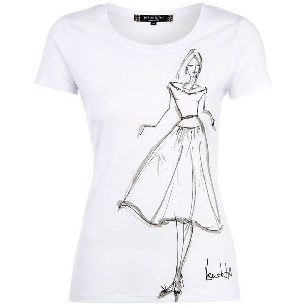 White lady sketch t-shirt (41 BRL) ❤ liked on Polyvore featuring tops, t-shirts, shirts, blusas, women's tops, women+tops, short sleeve shirts, white crew neck shirt, crew t shirt and print shirts